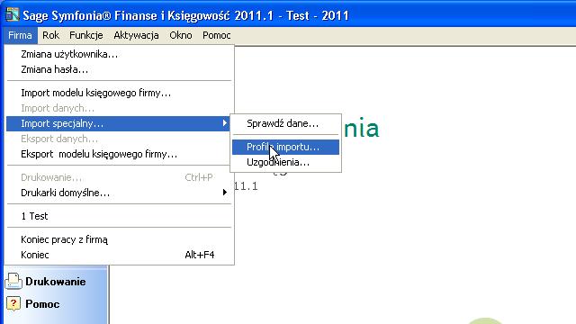 Symfonia FK: Wybierz importowanie z menu.