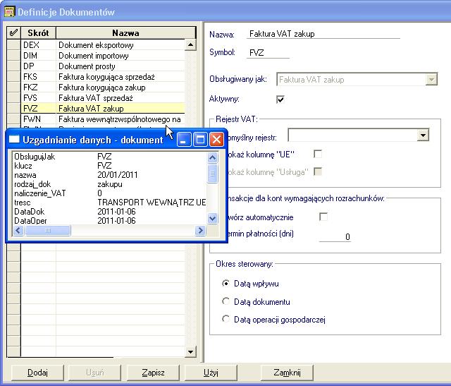 Symfonia FK: Dopasowanie typu dokumentów.